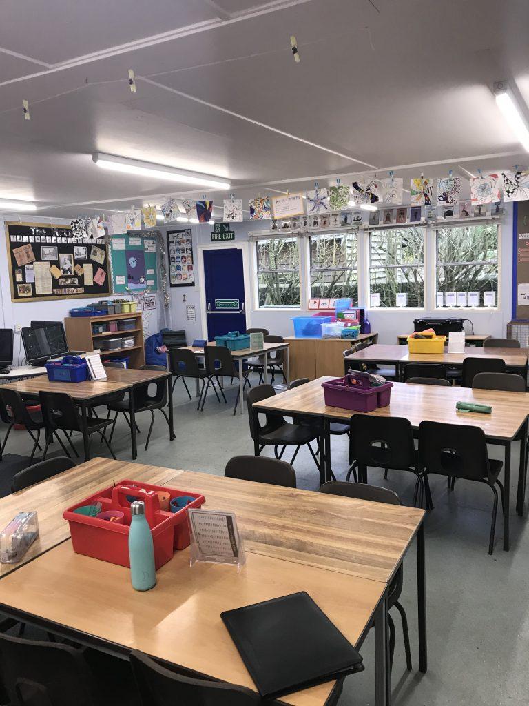 School classroom with thre LED batten luminaire